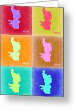 Phoenix Pop Art Map 3 Greeting Card by Naxart Studio