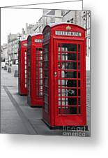 Phone Boxes On The Royal Mile Greeting Card by Jane Rix