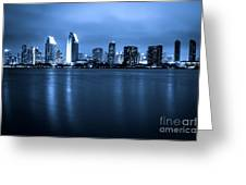 Photo Of San Diego At Night Skyline Buildings Greeting Card by Paul Velgos