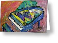 Piano Blue Greeting Card by Anita Burgermeister