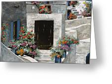piccole case bianche di Grecia Greeting Card by Guido Borelli