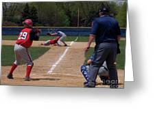 Pick Off Attempt At 1st Base Greeting Card by Thomas Woolworth