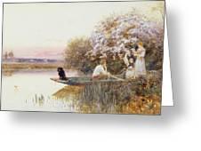 Picking Blossoms Greeting Card by Thomas James Lloyd