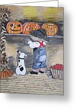 Picking Out The Halloween Pumpkin Greeting Card by Kathy Marrs Chandler