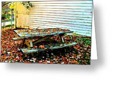Picnic Table in Autumn Greeting Card by Julie Dant