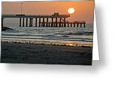 Pier At Dawn Greeting Card by John Collins