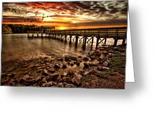 Pier At Smith Mountain Lake Greeting Card by Joshua Minso