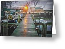 Pier Light - Oil Paint Effect Greeting Card by Brian Wallace