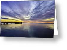 Pier Sunrise Greeting Card by Vicki Jauron