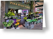Pike Place Flowers Greeting Card by Spencer McDonald