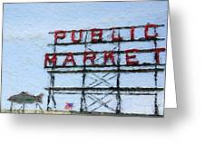 Pike Place Market Greeting Card by Linda Woods