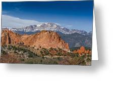 Pikes Peak Behind Garden Of The Gods Greeting Card by Ernie Echols