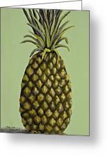 Pineapple On Green Greeting Card by Darice Machel McGuire