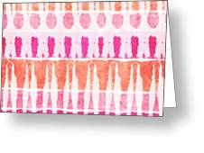Pink And Orange Tie Dye Greeting Card by Linda Woods