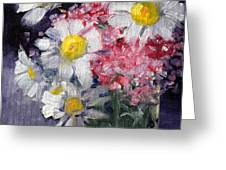 Pink And White Greeting Card by Nancy Merkle