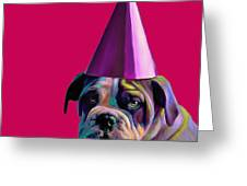 Pink Birthday Pup Greeting Card by Jennifer Gibson