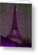 Pink Eiffel Tower Greeting Card by Kate Farrant