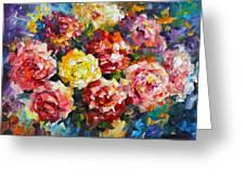 Pink Flowers Greeting Card by Leonid Afremov