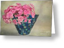 Pink Hydrangea's In A Vase Greeting Card by Carolyn Rauh
