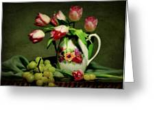 Pink In A Pitcher Greeting Card by Diana Angstadt