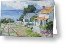 Pink Lady Lilies By The Sea By Joyce Hicks Greeting Card by Joyce Hicks