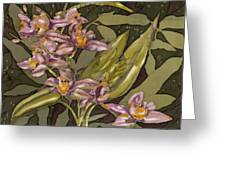 Pink Orchids Greeting Card by Artimis Romanelli