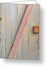 Pink Painted Z Door Greeting Card by Asha Carolyn Young