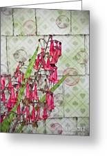 Pink Penstemon Bubbles Digital Art Greeting Card by Valerie Garner