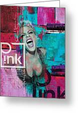 Pink Poster - B Greeting Card by Corporate Art Task Force