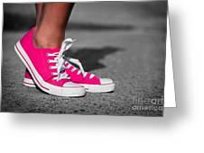 Pink Sneakers Greeting Card by Michal Bednarek