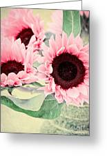Pink Sunflowers Greeting Card by Angela Doelling AD DESIGN Photo and PhotoArt