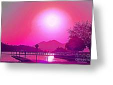 Pink Sunset Greeting Card by Naomi Richmond