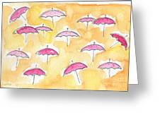 Pink Umbrellas Greeting Card by Linda Woods