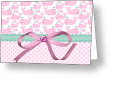 Pink Whales Greeting Card by Debra  Miller