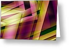 Pink Yellow and Green Geometry Greeting Card by Mario  Perez