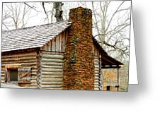 Pioneer Log Cabin Chimney Greeting Card by Kathy  White