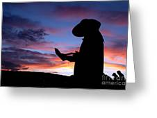 Pioneer Silhouette Reading Letter Greeting Card by Cindy Singleton