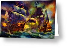 Pirate Battle Greeting Card by Christopher Lane