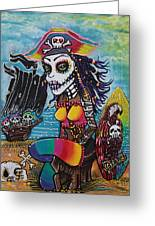 Pirate Girl - Surfs Up Greeting Card by Laura Barbosa