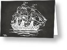 Pirate Ship Artwork - Gray Greeting Card by Nikki Marie Smith