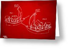 Pirate Ship Patent Artwork - Red Greeting Card by Nikki Marie Smith