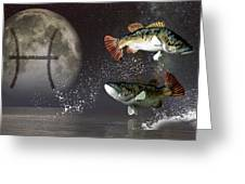 Pisces Zodiac Symbol Greeting Card by Daniel Eskridge