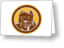 Pitbull Dog Mongrel Head Circle Woodcut Greeting Card by Aloysius Patrimonio