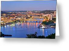 Pittsburgh Pennsylvania Skyline At Dusk Sunset Extra Wide Panorama Greeting Card by Jon Holiday