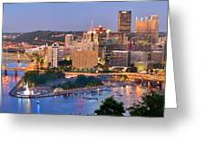 Pittsburgh Pennsylvania Skyline At Dusk Sunset Panorama Greeting Card by Jon Holiday