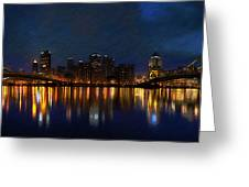 Pittsburgh Skyline 2 Greeting Card by  Fli Art