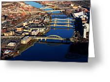 Pittsburgh's North Shore Aerial Greeting Card by Mattucci Photography