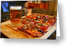 Pizza And Beer Greeting Card by Kay Novy