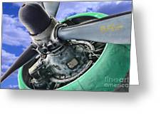 Plane Green Prop Greeting Card by Paul Ward