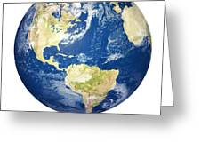 Planet earth on white - America Greeting Card by Johan Swanepoel